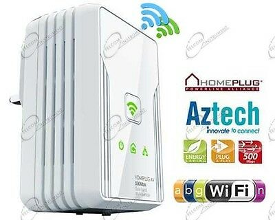 Powerline 500mbps Wireless Dual Band Aztech Homeplug Power Line Wifi N 300Mbps