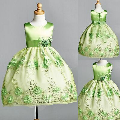Lime Green Floral Satin Embroidery Dress ALL SIZES Birthday Easter Summer #09