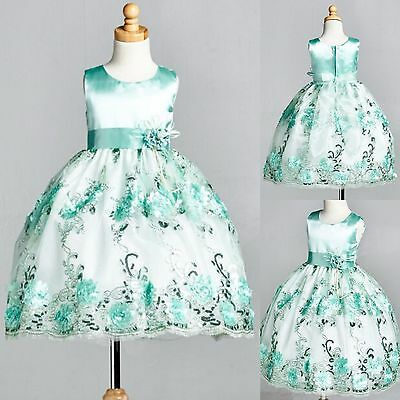 Mint Floral Satin Embroidery Dress ALL SIZES Birthday Easter Flower Girl #09
