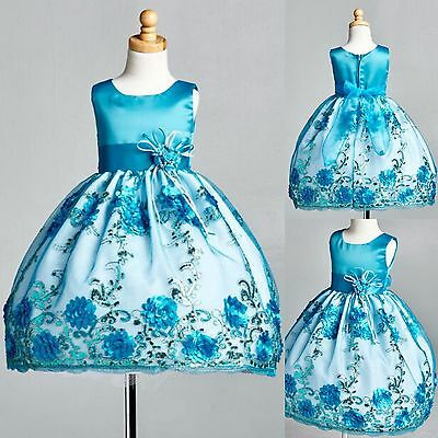 Turquoise Floral Satin Embroidery Dress ALL SIZES Birthday Summer Spring #09