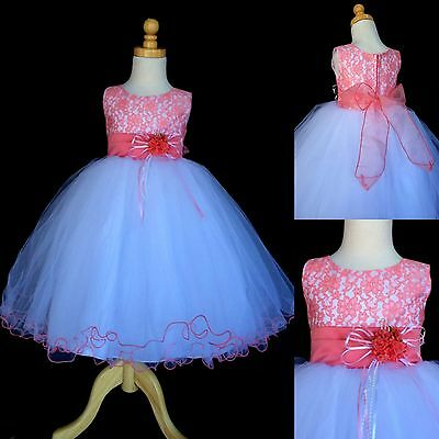 NEW Coral Lace Tulle Dress w/ Fishing Line Flower Girl Birthday Easter #015