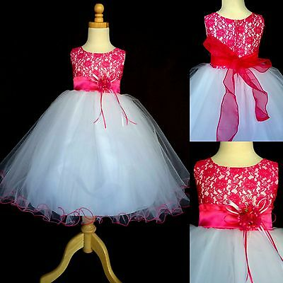 NEW Fuchsia Lace Tulle Dress w/ Fishing Line Flower Girl Birthday Easter #015