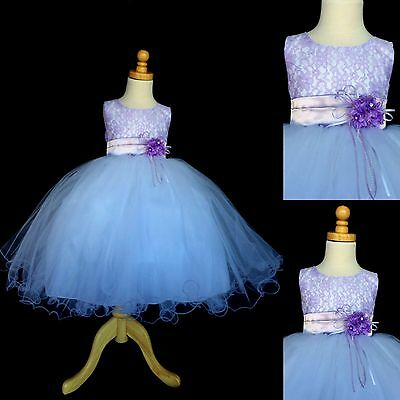 NEW Lilac Lace Tulle Dress w/ Fishing Line Flower Girl Birthday Easter #015