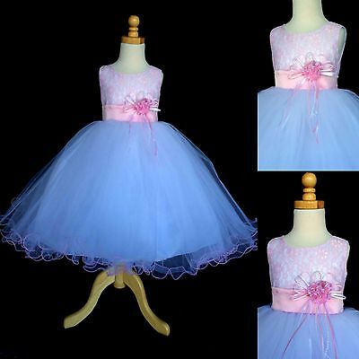 NEW Pink Lace Tulle Dress w/ Fishing Line Flower Girl Birthday Easter #015