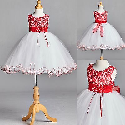 NEW Red Lace Tulle Dress w/ Fishing Line Flower Girl Birthday Wedding #015