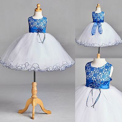 NEW Royal Blue Lace Tulle Dress w/ Fishing Line Flower Girl Recital #015