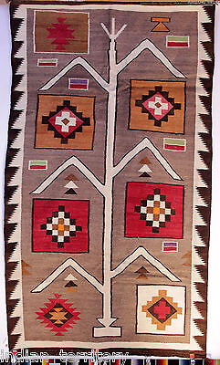 "LARGE 82""x 46"" Antique 1920s Navajo PICTORIAL Rug Cornplant /Tree of Life"