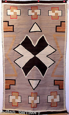 "LARGE 79""x48"" Antique Navajo Indian JB Moore Crystal Rug , tans, greys c.1920s"