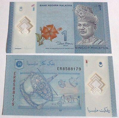 Malaysia 1 Ringgit Polymer Banknote Unc X1 2012