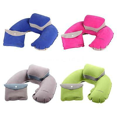 Foldable Air Pillow Inflatable U Shape Neck Blow Up Cushion PVC Flocking Outdoor