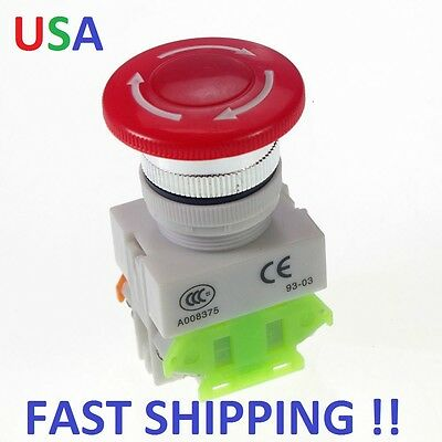 1 PC  CNC Red Rotary Emergency Stop Mushroom Pushbutton Switch Free shipping