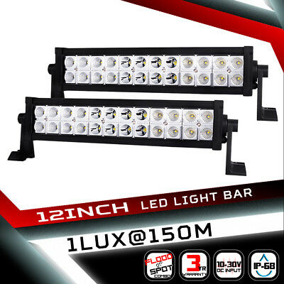 2x 12inch 224W Philips Lumileds LED Light Bar Flood Spot Combo Truck 4WD