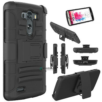 Hybrid Impact Cover Case + Belt Clip Holster Kickstand for LG G3 All Carriers