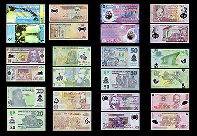 Polymer Banknote Set 36 Different PCS all Mint Uncirculated Banknotes Set # 4