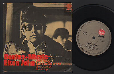 "7"" Genius + Music = Elton John Your Song +3 Ep Made In Brazil 1972 Promo Etched"