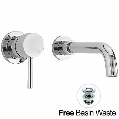 Sicily Wall Mounted Modern Sink Chrome Lever Basin Mixer Tap *free Waste Inc*