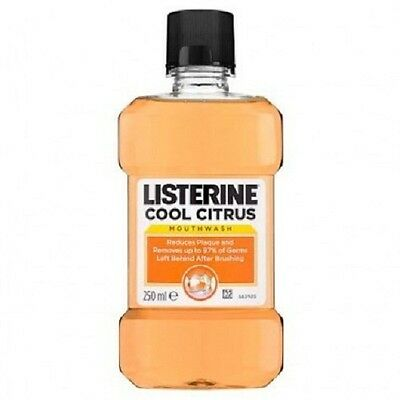 6 X 250ml Listerine Cool Citrus Mouthwash Fights Plaque and Germs