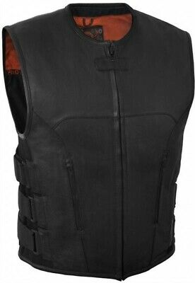 True Element Mens Swat Team Style Leather Motorcycle Vest w/Side Adjust. (S-5XL)