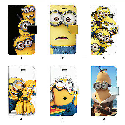 Minions Flip Wallet Case Cover for Samsung Galaxy S3 4 5 6 7 Edge Note Plus