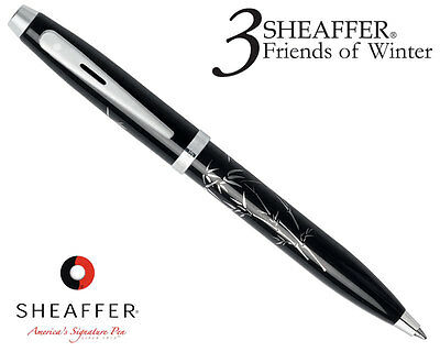 New Sheaffer 100 Silk Screened Bamboo Ballpoint Black With Chrome Appointments