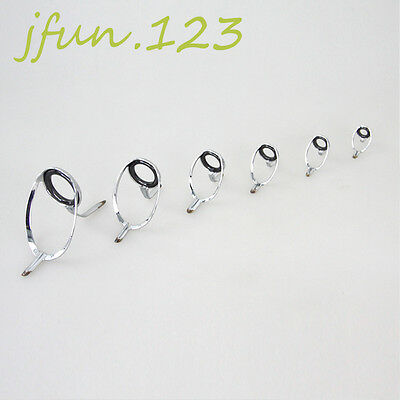 6 Pcs Casting Fishing Rod Guides Rings All Sizes Spinning Rod Repair / Building