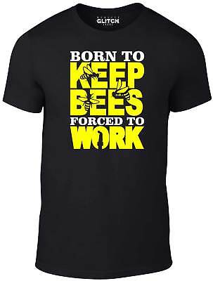 Men's Born to Keep Bees Forced to Work T-Shirt - Funny Gift Bee Keeping Honey UK