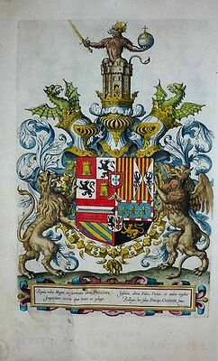 1603 ORTELIUS FLAMBOYANT ARMORIAL FRONTISPIECE Dragons Gryphon Lion + Title Page