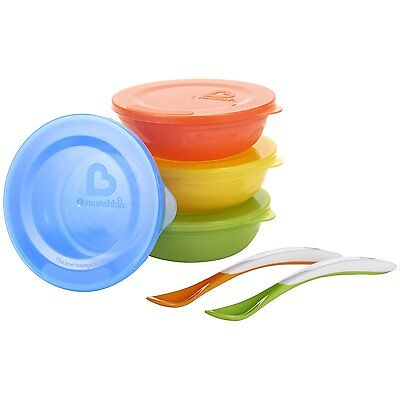 4 Baby/Toddler Weaning Feeding/Food/ Travel Bowls With Lids & 2 Soft Tip Spoons