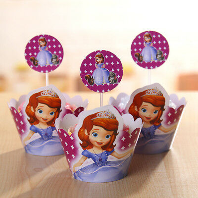 Sofia The First Birthday Party Supplies Cupcake Wrapper Decoration New Pk12