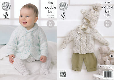 King Cole Double Knitting Pattern Baby Shawl or Flat Collar Jackets & Hat 4318