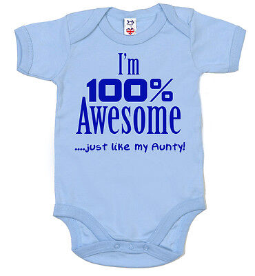 """Funny Auntie Bodysuit """"I'm 100% Awesome just like my Aunty"""" Baby grow Aunt Gift"""
