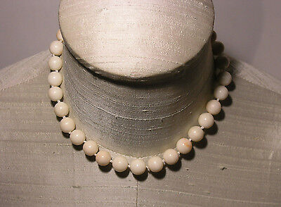 1950s White & Pink Flecked Coral Bead Necklace w/14K Gold Filigree & Rose Clasp
