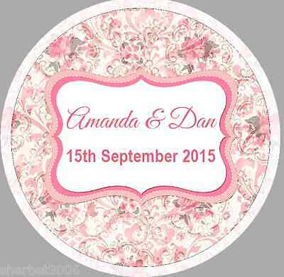 24 x 40mm personalised stickers round vintage frame pink floral wedding
