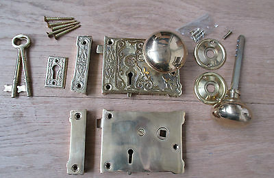 Fancy Brass Rim Lock And Knob Set Victorian Style Old Vintage Bathroom Bedroom