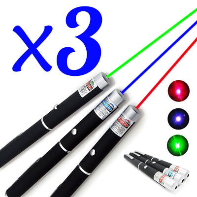 3PCS Green + Blue Violet + Red Light Beam Visible 1MW 532nm Laser Pointer Pen