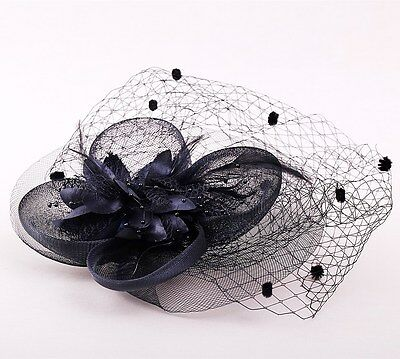 Black Flowers & Netting Ladies Womens Wedding Ascot Fascinator Hair Clip hfac1