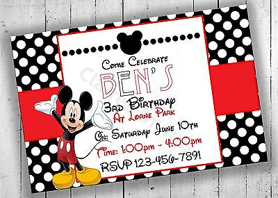 Mickey Mouse Birthday Invitation, Mickey Mouse Birthday Party, Birthday Invites