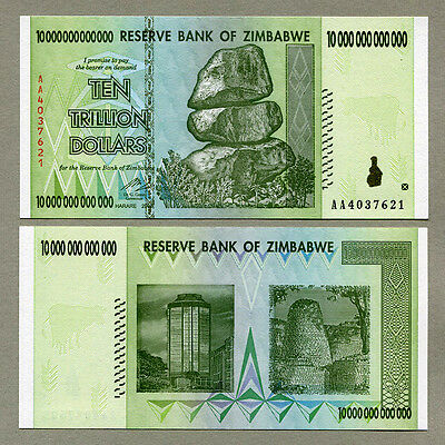 Zimbabwe 10 Trillion Dollars banknote AA 2008 P88 UNC currency bill inflation