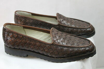 7ec2c1b4f0f Womens SESTO MEUCCI Brown Leather Loafer Size 5.5 Narrow Braided Slip Ons