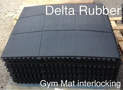 INTERLOCKING RUBBER FLOOR MATS GYM EXERCISE MAT 3'x3'(90x90cm)14mm  Free POST