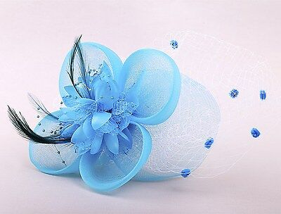 New Blue Flowers Netting Feather Ladies Wedding Ascot Fascinator Hair Clip hfac7