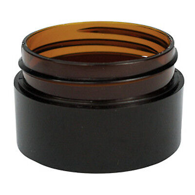 10 x 20g Amber Plastic Lip Balm Small Sample Cosmetic Jars Container + Black Cap