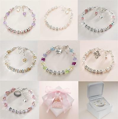 Sterling Silver Name Bracelets for Girls. Personalised Bracelets. High Quality.