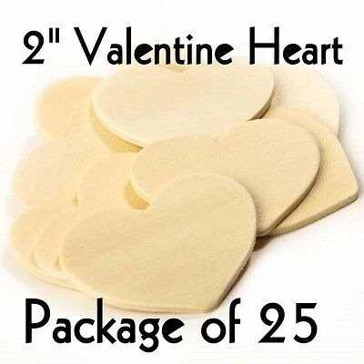 "VALENTINE HEART ~ 1 1/2"" x 2"" ~ Wood Cutout Craft Shape { Lot of 25 } ~ by PLD"