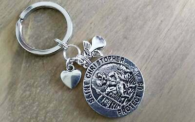 Saint Christopher KEYRING Guardian Angel Heart Patron St Travelers Present Gift