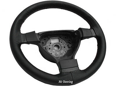 For Mitsubishi Colt Mk6 Real Perforated Leather Steering Wheel Cover Grey Stitch