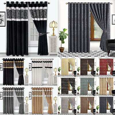 Luxury Jacquard Ring Top Or Eyelet Top Curtains Fully Lined Or Faux Silk Pattern