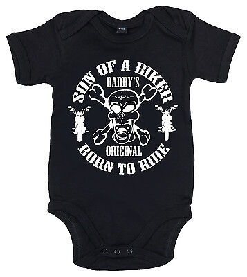 "Funny Baby Bodysuit ""Son of a Biker"" Motorcycle Sons Anarchy Funny Boy Motorbike"