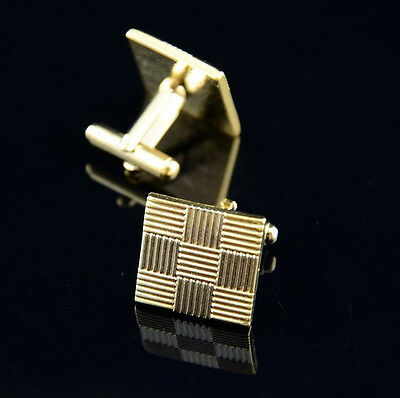 New Stainless Steel Gold Vintage Men's Wedding Gift Classical Grid Cuff Links