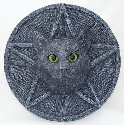 CAT PLAQUE PENTACLE Garden Stone Wall Black Pagan Wiccan LIFE SIZE Ornament Sale